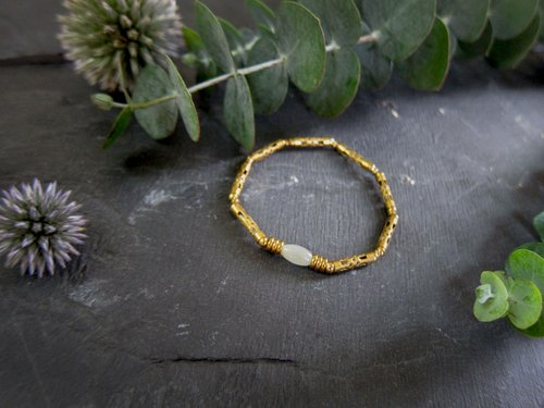 White rice -half's half pure brass bracelet
