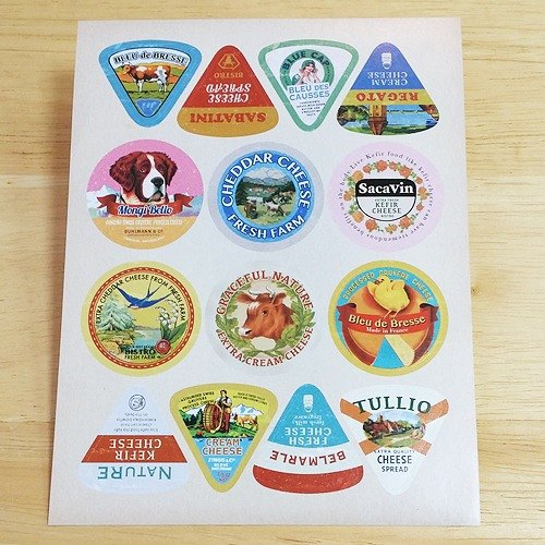 Aimez le style retro label stickers (01603 cheese)