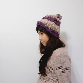 Araignee Design * Hand knitted wool hat - Beanie & Ball ball roll cap / beige, purple Japan imported special wire splicing ball ball mix wind