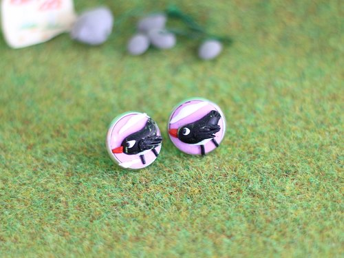 Black Birds polymer clay Earrings _ creative earrings, woodland animals earrings, one-of-a-kind earrings
