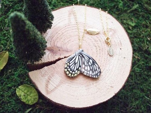 Butterfly necklace WH / wood necklace wooden necklace series