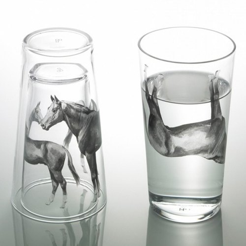 "(One pair price) together [MSA] D-Bros Department of Zoology GLASS ""Live together!"" Horse horse glass engraving glass group glass lettering horse Horse 12 zodiac couple a wedding gift"