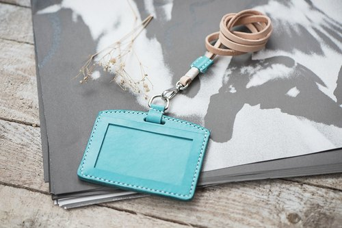 Natural Vegetable Tanned Custom Leather ID Holder / Turquoise Only / Horizontal / Leather Lanyard Included / Handmade