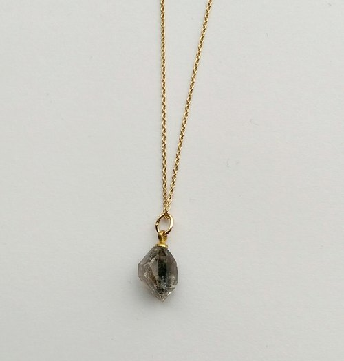Jane Yuehejimeng crystal 14k gold necklace