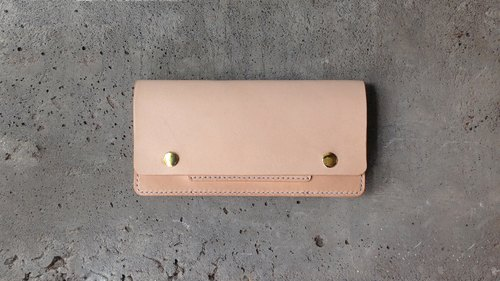 Handmade vegetable tanned leather long clip / wallet