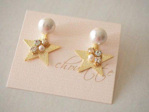 【14kgf】cotton pearl star pierce