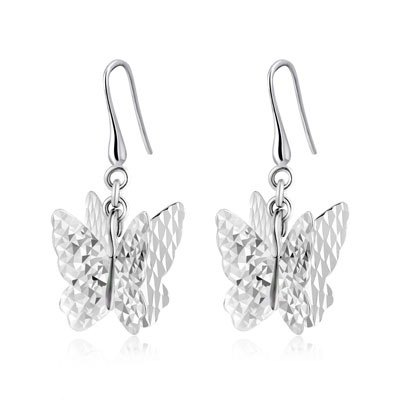 Hong Kong Design 14K / 585 white gold butterfly net gold Drop Earrings