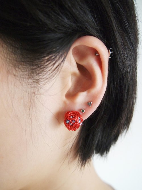 ME025 hand knitting circle wonderful New Year red copper with sea-blue translucent pearl earrings