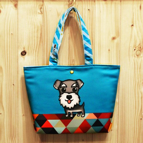 Skilled Cat Cat [x] Urban Out Tote Bag Lunch Bag Schnauzer dog gentleman blue geometric triangle
