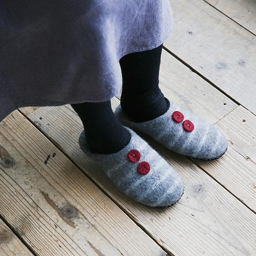 "Earth tree fair trad & Eco- ""sheep blankets Series"" - wool felt indoor slippers (remaining Gray)"