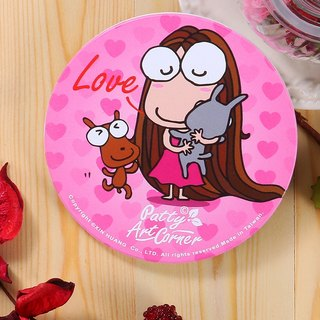Painted Absorbent Ceramic Coasters – Happy Big-eyed Girl series - The embrace of love