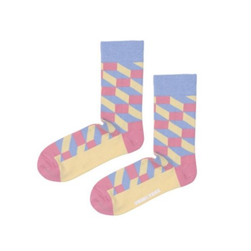 Square And Diamond Crew Pink Socks