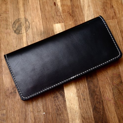 Cans hand-made hand-made handmade Japanese black vegetable tanned leather long wallet fiscal cloth genuine leather long wallet