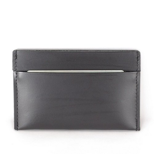 Simple vegetable tanned cow dark business card holder pickup folder