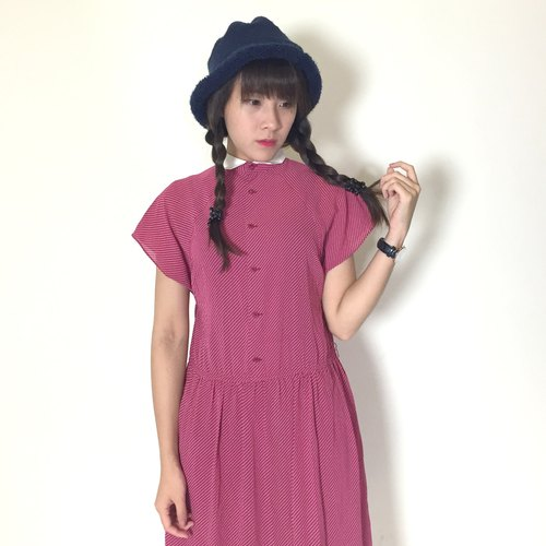 Vintage dress _ / Little Red Riding Hood / solid / chiffon