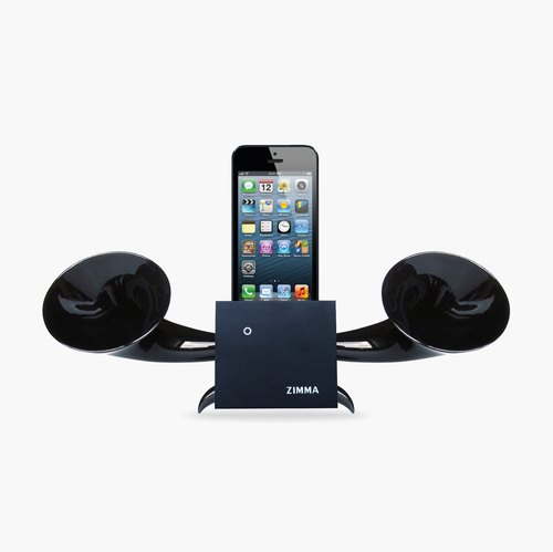 Exclusive iPhone SE / 5/5 / 5c / 4s / 4 / iPod Touch 5 and other seven kinds of use (ZIMMA-stereo two-channel loudspeaker beech (wood black) + earth gold / dark tide)