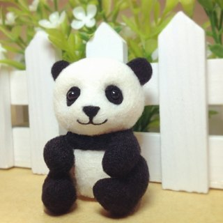 [Cream] handmade wool felt plush Super Meng Yuan Zai zoo panda panda mobile phone strap headphone plug dust plug keychain birthday gift