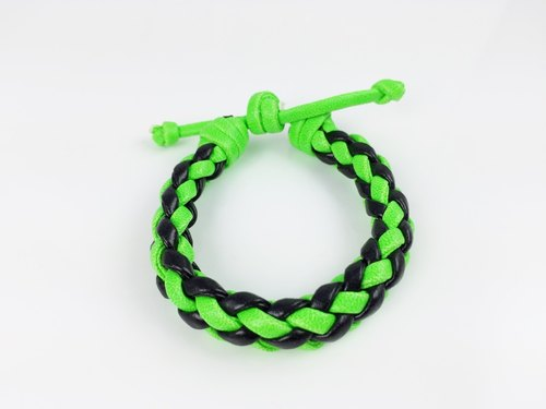 Fluorescent green black four-stranded braid