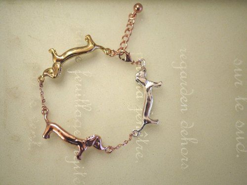 [* Charlene ‧ gold jewelry] three mini sausage dog bracelet