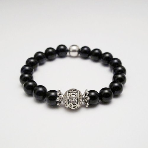[Orange] Mr. Mu MUCHU agate. Peace Sign silver ball black onyx bracelet AB030