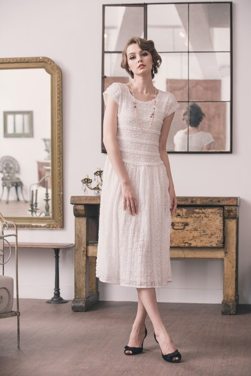 【Kan's】Vintage Style Little France Elastic Lace Dress (white)