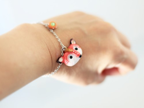 Hand painted fox Bracelet - animal Bracelet