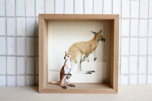 [Painting, animal AnimalPaintingCollection] box decorated - Kangaroo / small square