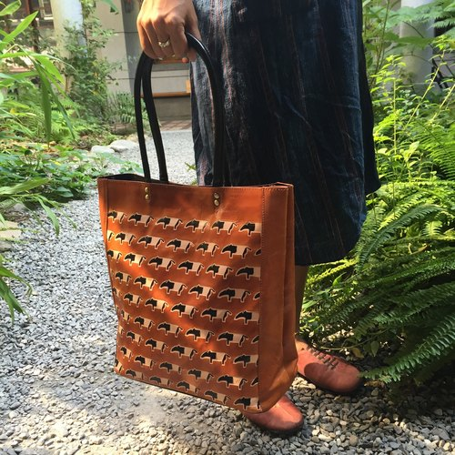 Suede handbag dark horse to tapir _ _ _ Orange Fair Trade