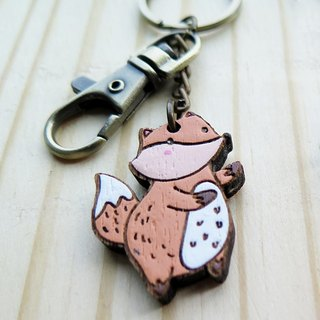 "Wooden Keyring "" The Fox and The Crow """