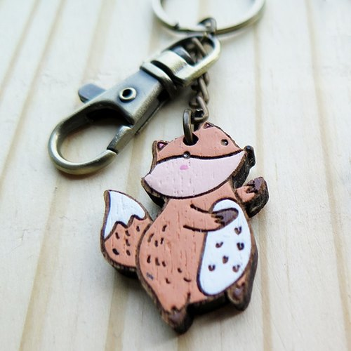 Wooden Keyring The Fox and The Crow