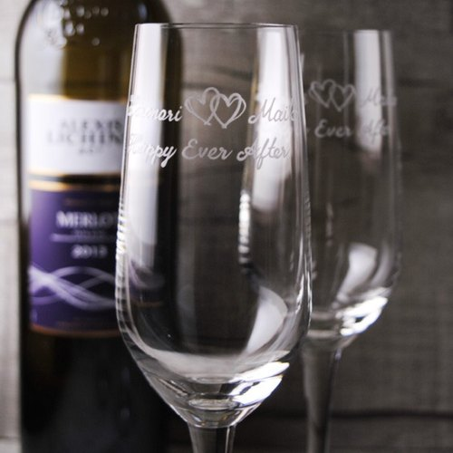 (One pair price) 185cc twin love wedding champagne [MSA] for cup (cut thin edge) Heart of Eternity carved glass-made wedding guest gift set