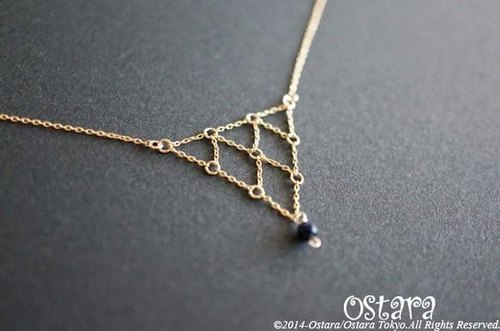 【14KGF】Necklace,14KGF Net Chain Triangle,Blue Gold Stone