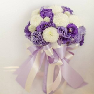 Flowers - [Combination] Exquisite Flower Bouquet & Corsage White Purple B-PU01