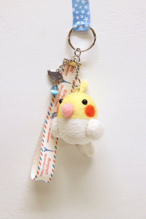 Rolia's hand-made yellow cockatiel wool felt Charm (can be customized)