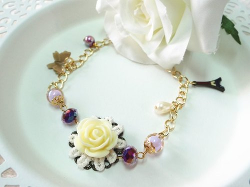 Paris, purple butterfly bracelet