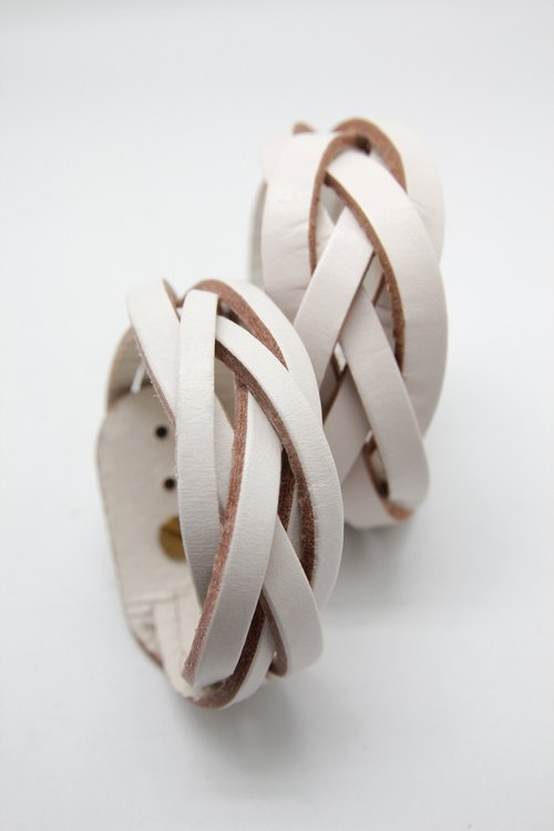 "White's Offer set - woven leather bracelet ""2.5cm + 3.6cm FIVE series' combination"