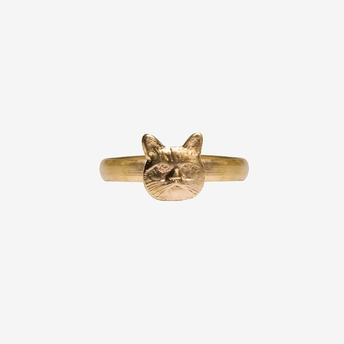 [Indigo] Raw Brass Cat Ring