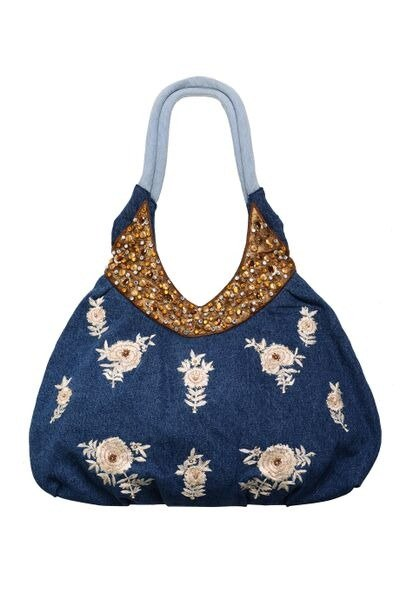 Girly Glamour Denim Embroidery Shoulder Bag