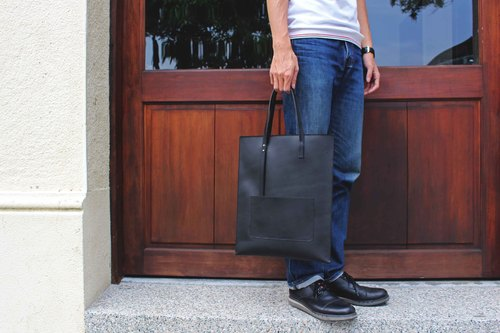 [VULCAN Slim-Tote] Italian Translucent Vegetable Steer Small Tote Bag Hand/Shoulder Back