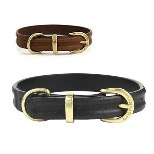 W & amp; S standing seam leather collar - Size M - British imports calfskin pet collar - black, brown