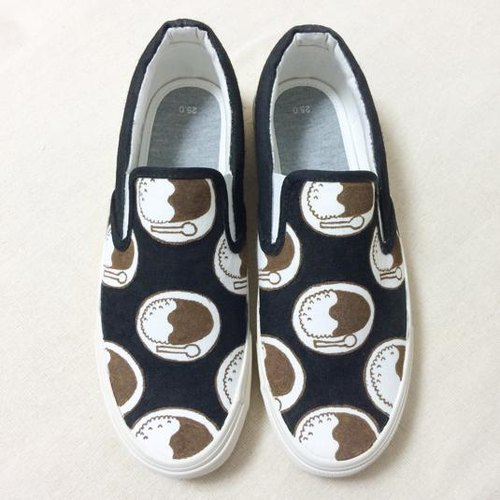 Curry slip (black / white) LACICO hand-painted hand-painted sneakers curry rice pattern orders production Rashiko