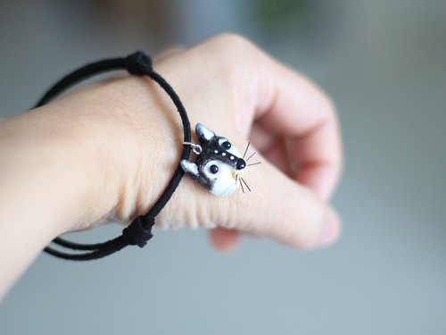 PearlCatCat // Black cat bracelet - Animal bracelet