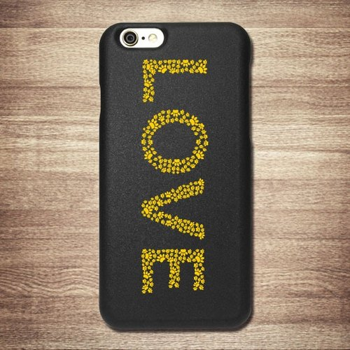 [Meow Star, yellow Mimi footprints, LOVE] iPhone Black Phone Case