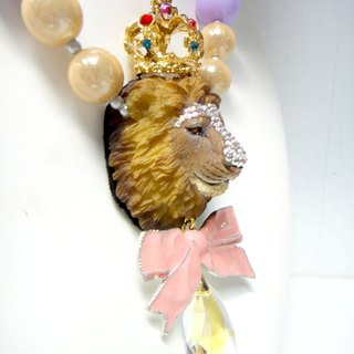 Lionhead color thick bead necklace