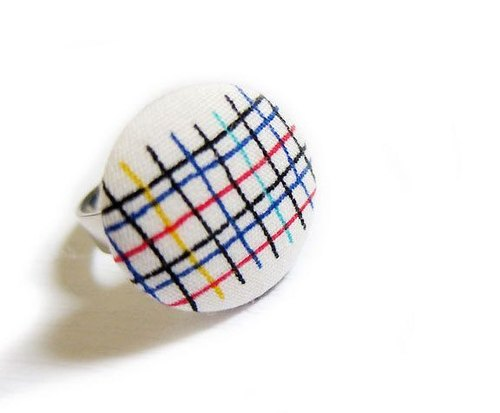 Handmade cloth button ring line grid