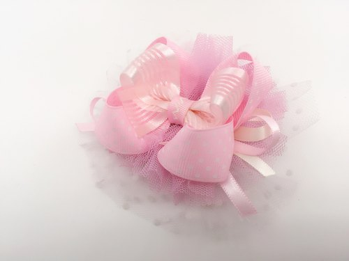 Sweet Dreams - American pink satin yarn big bow. Hairpin section