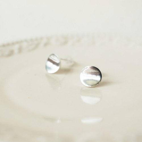[Cami Handicraft] Button Sterling Silver Earrings