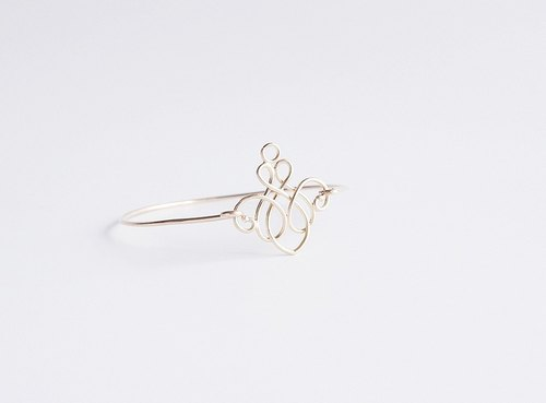 "[14KGF] Wire Bangle, 16KGP Filigree ""A"""