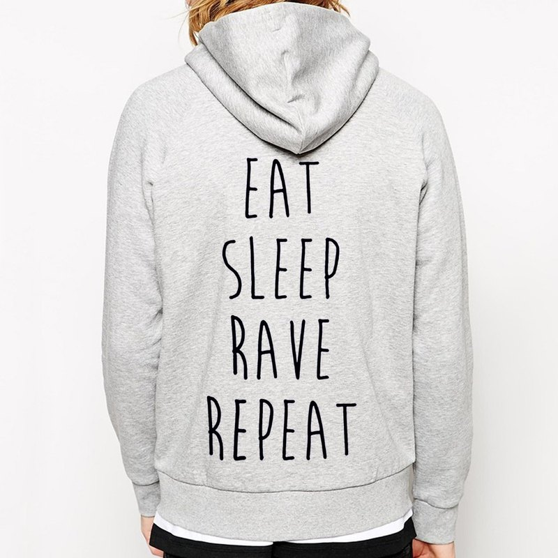 EAT SLEEP RAVE REPEAT Zip Hoodie - gray blue paper art design fashion fashionable word