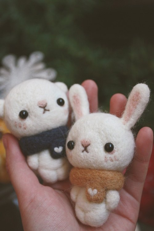 Winter Christmas forest rabbit wool felt doll